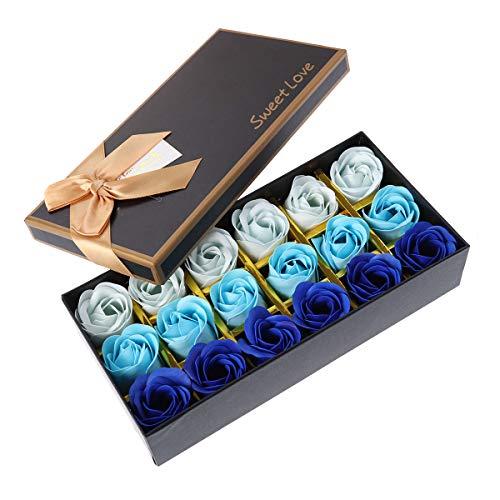 Lurrose 18 STÜCK Floral Erstellt Gradienten Bad Seife Rose Ätherisches Öl Seife Bad Körper Seife Geschenk für Valentinstag Muttertag Jubiläum Geburtstag Hochzeit