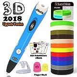 3D Stift Set für Kinder mit PLA Filament 12 Farben -【Neueste Version 2018】3D Stifte mit PLA Farben 120 Fuß und 250 Schablonen eBook, Dikale 07A 3D Pen als kreatives Geschenk für Erwachsene, Bastler zu kritzeleien, basteln, malen und 3D drücken, Blau