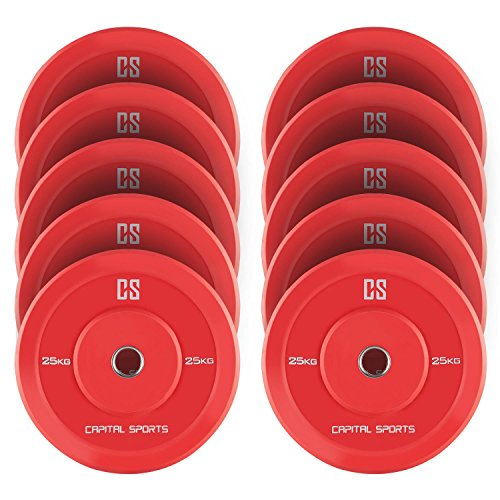CAPITAL SPORTS Nipton Discos de peso 5 parejas 25 kg rojo Goma dura (Resistente goma dura, abertura de 50,4 mm, ideales para cualquier barra olímpica o Cross-Training, Weight-Drops / Saques)