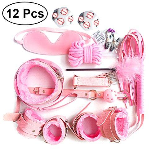 LUOEM Sous le système de lit Kit de menottes Poignets réglables de la main poignet de la cheville souple, Masque pour les yeux Bandeau Autres jouets amusants pour les femmes, Pack de 12 (rose)