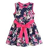 Culater Faldas Del Partido Muchachas De La Princesa Sin Mangas Vestido De Flores (140, Azul)