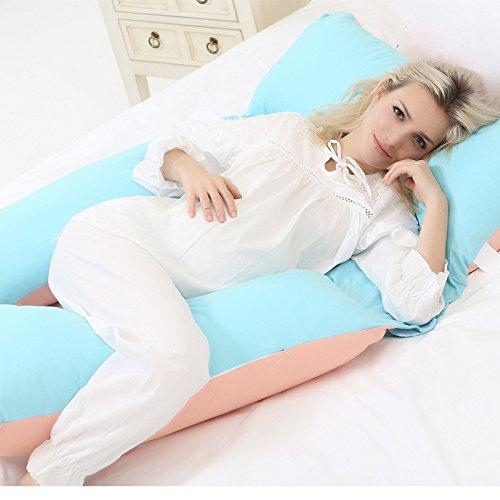 Oreiller De Maternité De Grossesse Avec U Oreiller De Soutien Complet Du Corps Oreiller De Coin Avec 100% Coton Taie D'oreiller,Blue+Orange-132 * 80 * 20cm