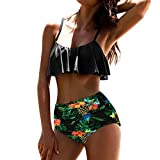 PINEsong Damen Bandeau High Waist Bikini Set Bademode Swimwear Sexy Off-Shoulder Swimsuit Beachwear Weg von der Schulter Tankini mit Volant Zweiteiler Badeanzug Strandmode (S, Grün)