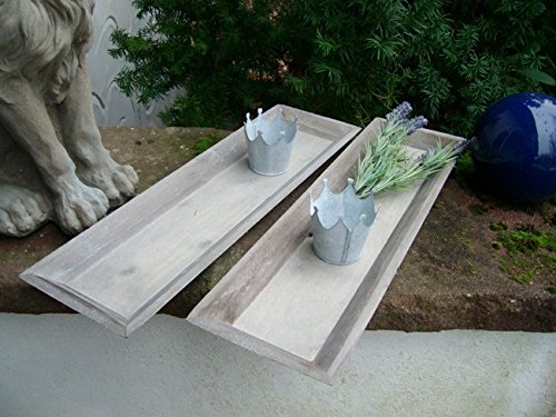 Dekoratives Tablett-Set, (2 Stück) Holz, grau-braun-beige 55 x 16 cm