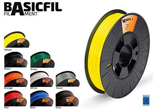 BASICFIL PLA 1.75mm, 500 gr filamento de impresión 3D, Amarillo