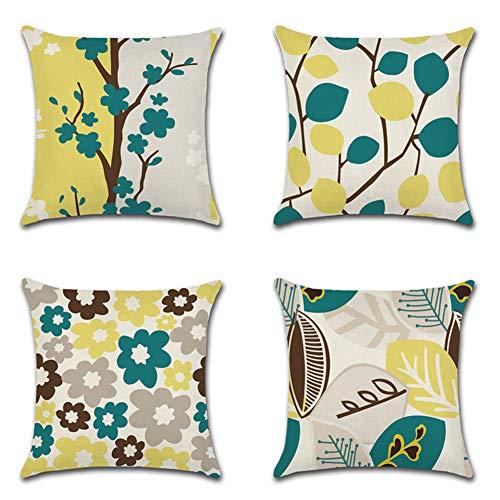 jotom fodera per cuscino cotone lino cuscini divano vari stili di pattern modello soggiorno camera da letto copricuscini divano decorazione, 45x45cm, set di 4 pezzi (fiori e foglie)
