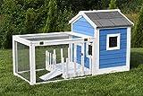 Miweba Hasenstall My Animal MH-25 Haus mit Garten Hasenvilla Kaninchenkäfig Hasenkäfig Kaninchenstall Hamster (Blau/Weiß)
