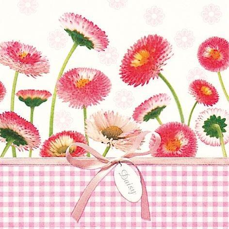 Ti flair-serviettes-daisy &vichy-rose/fleurs/maßliebchen printemps