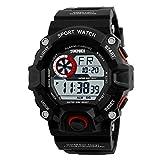 KOBWA Digital Geführte Sport-Uhr Der Männer, Wasserdichte Elektronische Zufällige Armbanduhr mit Gummiband für Kursteilnehmer(Rot)