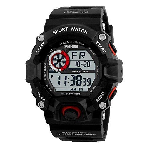 KOBWA Digital Geführte Sport-Uhr Der Männer, Wasserdichte Elektronische Zufällige Armbanduhr mit Gummiband für Kursteilnehmer(Rot) (Armitron Männer Uhr)