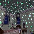 100 قطعة من ملصقات الحائط على شكل نجوم بتصميم ثلاثي الابعاد متوهجة في الظلام من بلاستيك الفلورسنت للديكور المنزلي والزينة وال