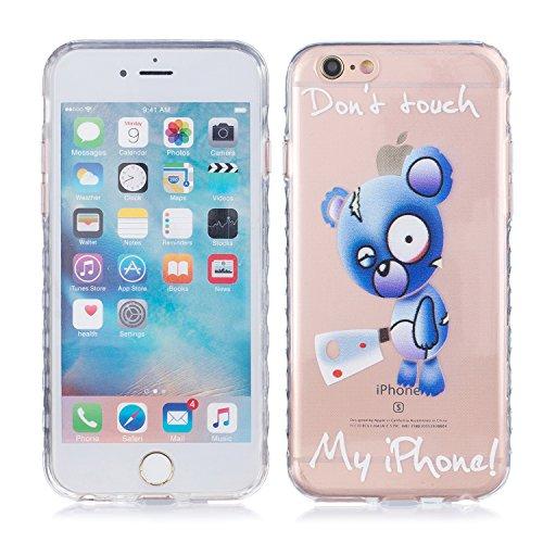 iPhone 6 Plus Hülle, E-Lush TPU Soft Silikon Tasche Transparent Schale Clear Klar Hanytasche für Apple iPhone 6/6S Plus(4,7 zoll) Durchsichtig Rückschale Ultra Slim Thin Dünne Schutzhülle Weiche Flexi Don't Touch My iPhone