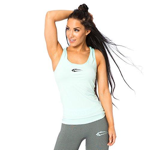 SMILODOX Sport Tank Top Damen | Seamless - Trainingsshirt ideal für Gym Fitness & Workout | Ärmelloses Sport T-Shirt - Bequemer Schnitt - Sporttop - Unterhemd, Größe:L, Farbe:Mint (Zumba Tops Für Damen Grün)