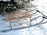 Slittino da neve in metallo e legno 90 cm con schienale rimovibile