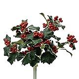 Adorno para Navidad, ramo de hojas verdes con bayas rojas, artificial, 30 cm