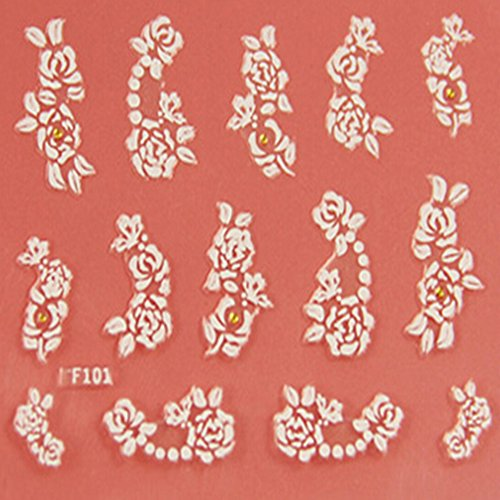 EVTECH (TM) 5 PCS Nail Art Nail Sticker outil 3D Autocollant Craved Fleurs Belle Nail Sticker Tatoo