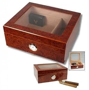 Angelo Humidor Hygro V-380 Boîtier de conservation pour cigares avec couvercle en verre et laque piano