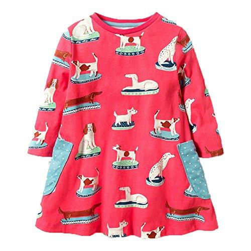 OHBABYKA Little Girls Cute Casual Baumwolle Tiere Gedruckt Streifen Langarm Playwear Kleid (6T, Dogs)