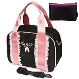 """Kilofly, borsa per ballerina con disegno di scarpette da ballo, scritta """"dance"""" e balze, con pratico sacchetto"""