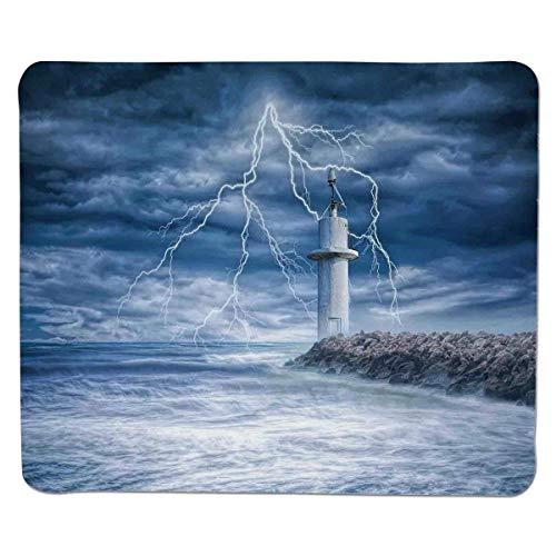 Leuchtturm Dekor, Leuchtturm Gewitter turbulente Wind Stimmung Wetter dramatische Himmel Szene, genäht Rand Rutschfeste Gummi