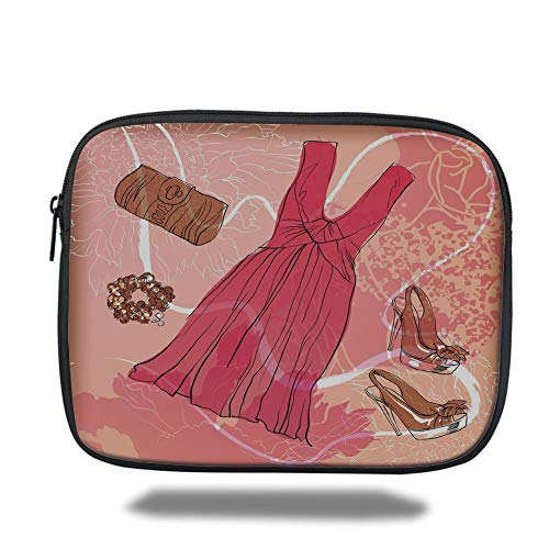 Tablet Bag for Ipad air 2/3/4/mini 9.7 inch,Heels and Dresses,Spring Inspired Floral Abstract Backdrop Pink Dress Shoes Bracelet Decorative,Pink Brown White - Mini Womens Heels