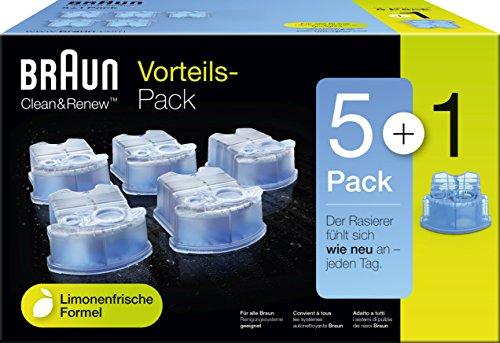 Braun Clean & Renew Reinigungskartuschen CCR 5+1, für Series 3-9 Elektrorasierer, 6 Stück