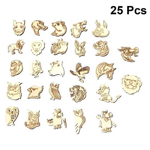 Basteln Tiere Muster DIY Verzierungen Handwerk Holz Kinder Bastelset Dekoration 25 Stücke ()