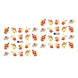 LNIMIKIY A402-2 Fogli di Adesivi per Nail Art con Fiocco in Pizzo e Rose
