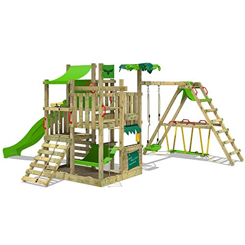 Allowing many assembly options, this climbing frame can be configured to suit your children's requirements. The play equipment is perfect for multiple kids from age 3 to 12 years and its pressure-treated frame is will last through their entire childhood.
