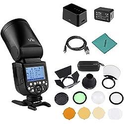 Godox V1C Flash Speedlite Professionel Tête Ronde sans Fil 2.4G Fresnel Zoom pour Canon EOS Série 1500D 3000D 5D Mark III 5D Mark LL + Kit d'accessoires pour Lampe de Poche AK-R1
