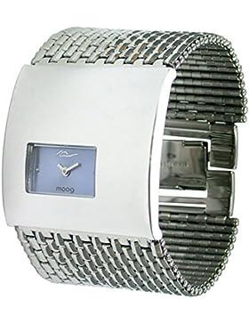 Moog Paris Geometric Damen Uhr mit Blau Zifferblatt, Silber Armband aus Edelstahl - M41114-006
