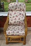 #8: IRA Cane Conservatory Furniture -Single Chair - 'Rose' Design Fabric-Natural Colour Cane