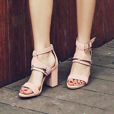 LvYuan Sandali-Formale Casual Serata e festa-Altro-Quadrato-Felpato-Nero Rosa Tessuto almond Pink
