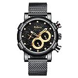Herrenuhren,Multifunktions-Mesh-schwarze Uhr,Armbanduhr der Diamantgeschäftsleute (BlackGold)