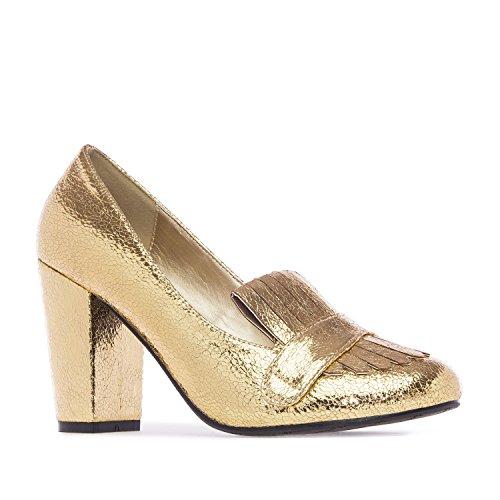 Andres Machado - AM5109 - Damenschuh mit schwarzem Schimmer Schimmer Gold