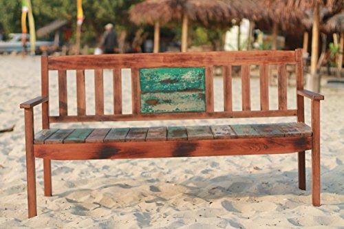 Outflexx 3-Sitzer Gartenbank, Fishboat-Holz, braun, 160 x 60 x 90 cm