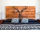 Kopfteil Bett PVC Hirsch auf braunem Holzimitat | Verschiedene Maße 200x60cm | Einfache Platzierung | Raumdekoration | Landschaftsmotive | Natur | Urbes | Multicolor | Elegantes Design