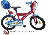 EDEN-BIKES Vélo Enfant Garçon Pat Patrouille - 16'' - Rouge et Bleu + Casque Inclus