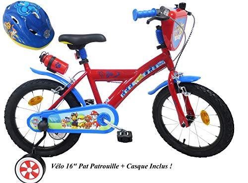 EDEN-BIKES - Bicicleta de 16 Pulgadas para jardín con Patinete, 2 Frenos PB/BIDON AR + Casco para Bicicleta Infantil, 16 Pulgadas