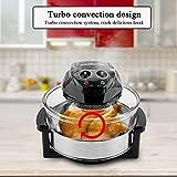 Four à Convection Halogène Four Multifonction à Convection Turbo 17L Cuisinière Friteuse Electrique avec Bol de Verre, Appareil Cuisine Professional(Noir)