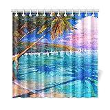 JOCHUAN Wohnkultur Bad Vorhang Schöne Ölgemälde Von Palm Tree Polyester Stoff Wasserdicht Duschvorhang Für Badezimmer, 72 X 72 Zoll Duschvorhänge Haken Enthalten