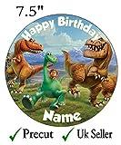 Personalisierbarer Dinosaurier-Tortenaufsatz, essbare Kuchenauflage aus Zuckerguss, 19,1cm, vorgeschnitten, Rund