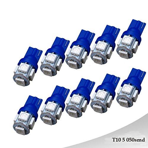 Ralbay 10 Pack T10 DC 24V 194 168 2825 Bleu W5W 5050 5-SMD Ampoule LED pour Voiture Remplacement éclairage intérieur dégagement Coin Tronc Dashboard Ampoule Plaque d'immatriculation Lampe