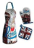 I love London 3 teilige MINNIE Apron Schürze Küchenschürze Grillschürze Baumwolle One Size NEU