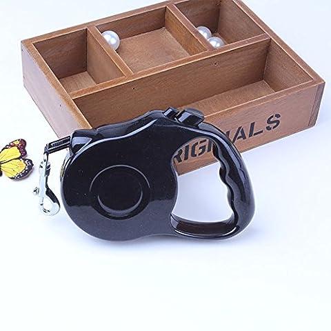 Chickwin Laisses rétractables pour chiens Chats Fabriqué en nylon + Matériaux en plastique + Caoutchouc Longueur de la corde Extendable (5 m, Noir)
