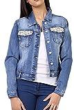 Damen Denim Jeansjacke perlen an den Taschen blau Casual Blouson größe M