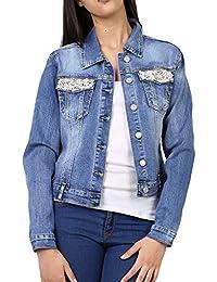 more photos 3a558 1fde2 Amazon.it: giacca di jeans con perle - Donna: Abbigliamento