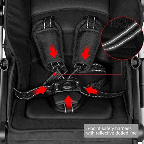 besrey Poussette Canne Landau Pliable pour Bébé 6-36 Mois avec Ceinture de Sécurité, Capacité de Charge de 15kg max. Certification de Sécurité ECE de l'UE-Gris