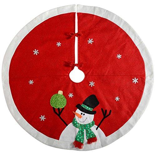 WeRChristmas–Decoración para base de árbol de Navidad muñeco de nieve, tela, rojo/blanco,...
