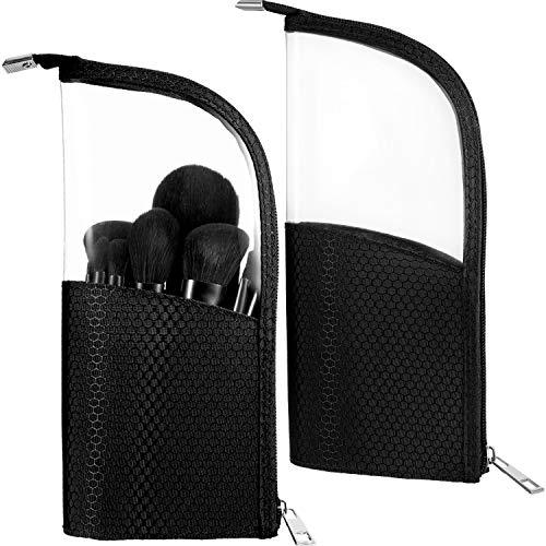 2 Stücke Schwarz Halb Klar Makeup Pinsel Taschen Makeup Pinsel Getränkehalter Kosmetik Reißverschluss Taschen für Reise Tragen -